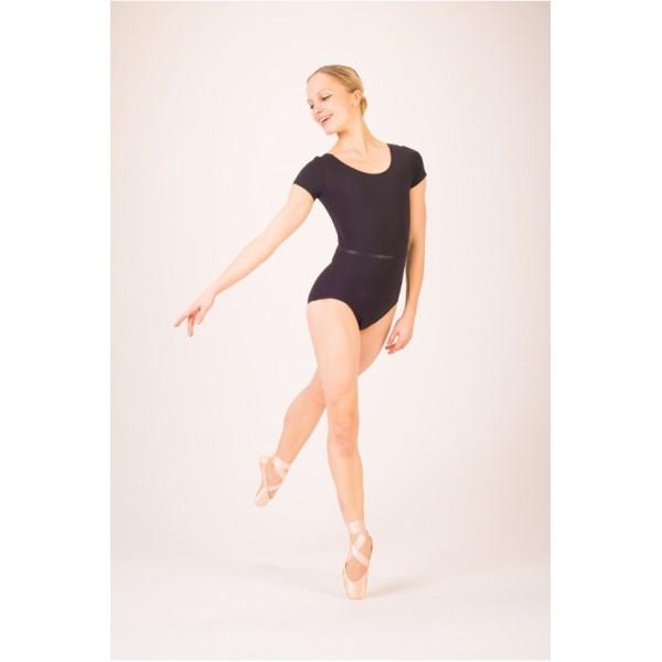 Capezio TC0054W, costum de balet cu mânecă scurtă și curea