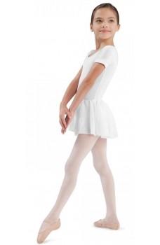 Bloch Tiffany, costum de balet din bumbac cu mâneca scurtă cu fustă