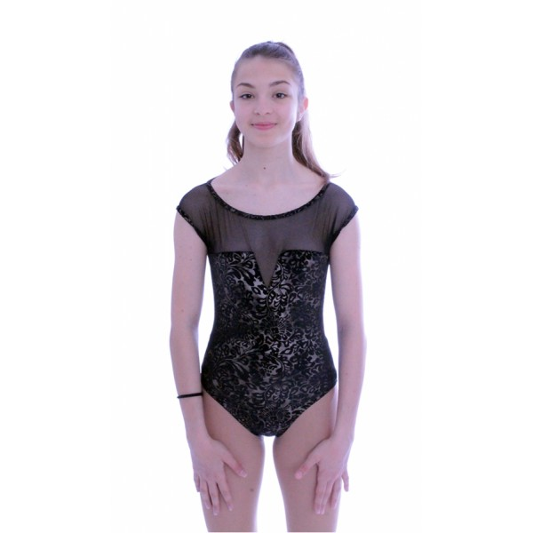 Capezio Damask Mesh Yoke Notched, costum de balet