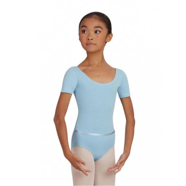 Capezio Leotard CAD400C, costum de balet pentru copii cu maneca scurta