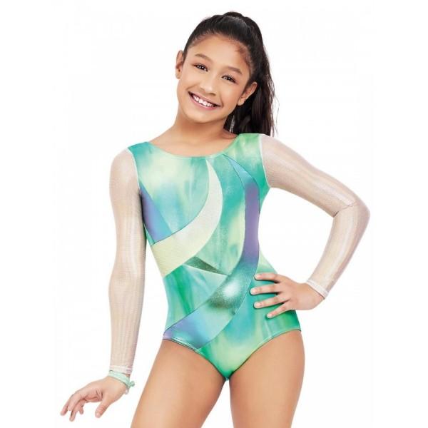 Capezio dres de gimnastica pentru fete cu maneca lunga