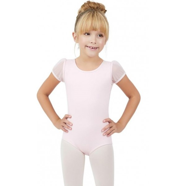 Capezio puff sleeve keyhole back leotards, costum de balet pentru copii